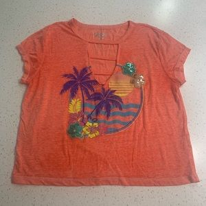 Almost Famous palm tree tropical crop top